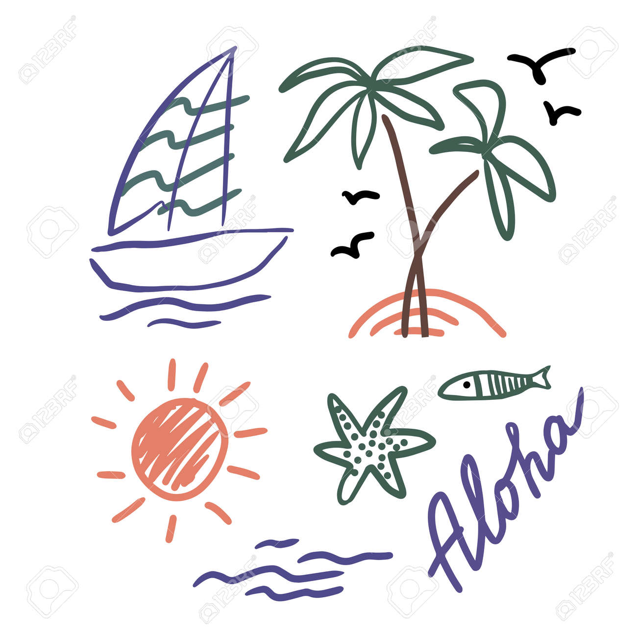 Symbol of summer. Palm trees, sun, sea, fish, starfish and yaht for your design. Doodles, sketch. - 154725347