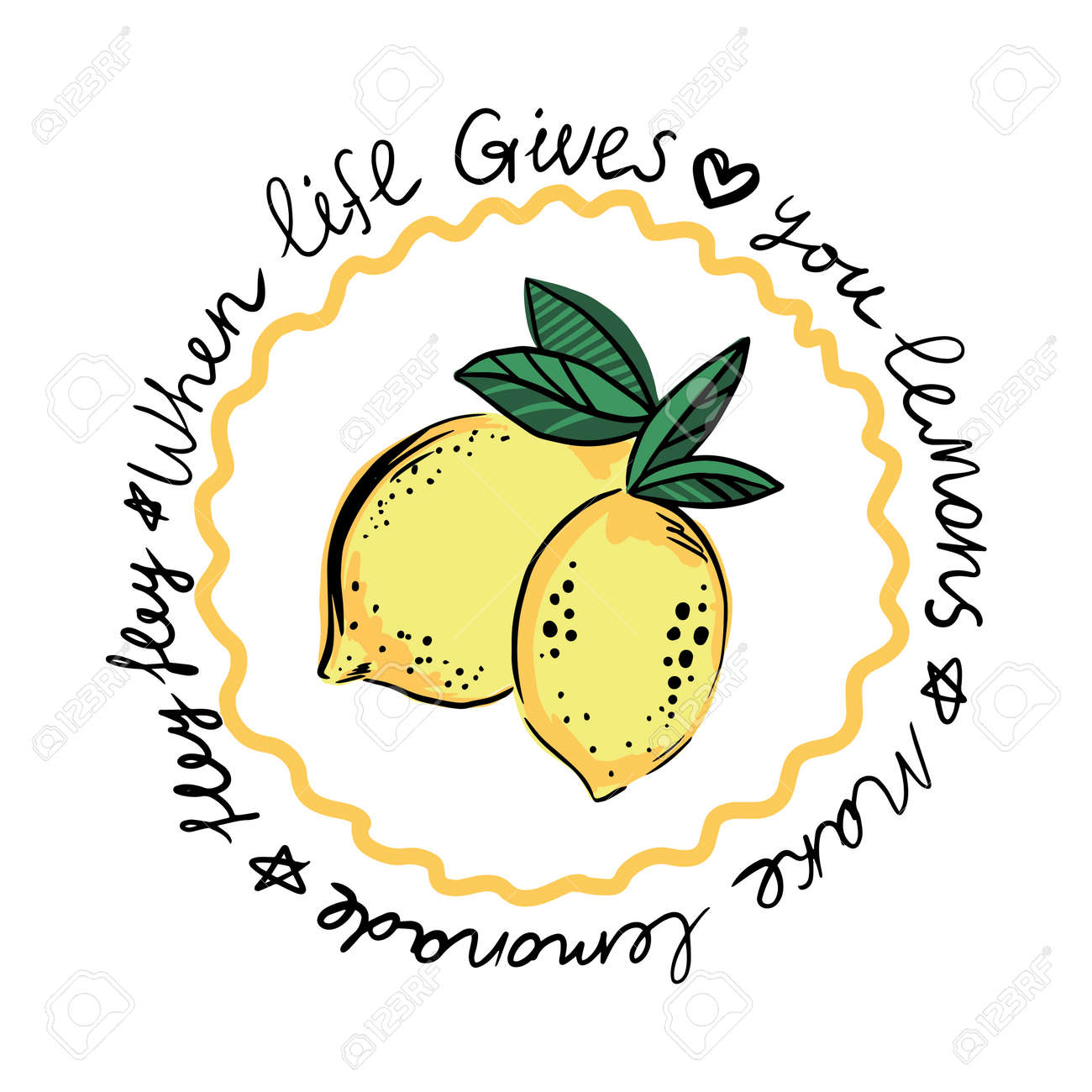 Fresh lemon fruits of vector illustrations with leaves and text. Print for t shirt - 154725350