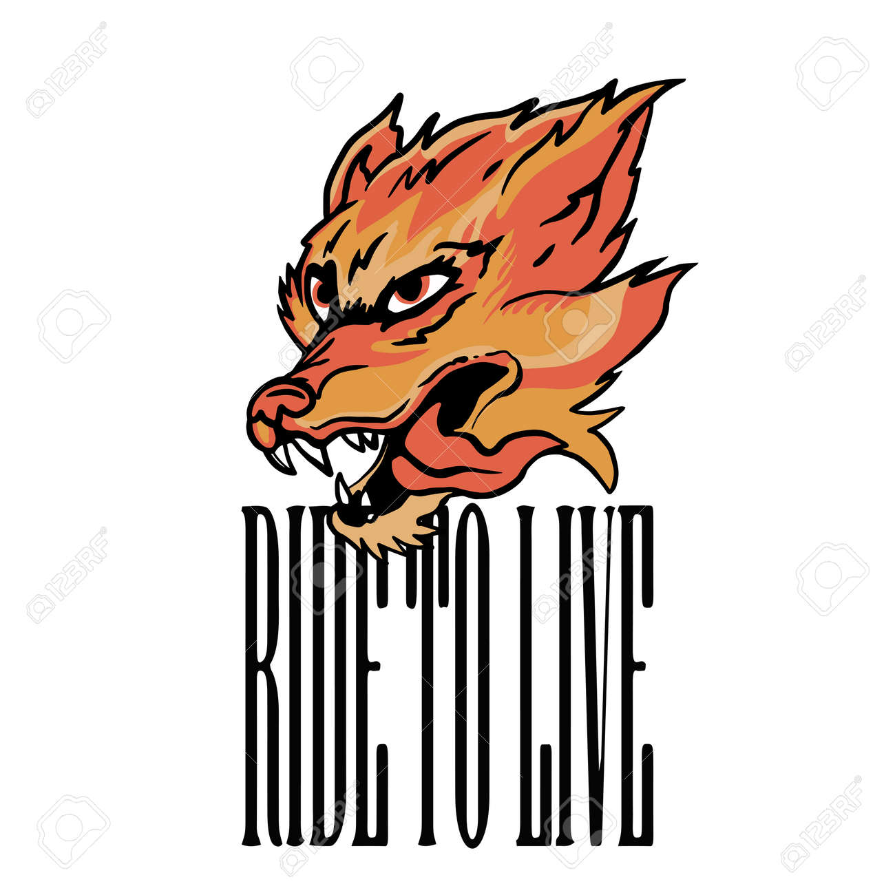 animal Head with Flames Illustration And ride to live slogan Vector Artwork for Apparel and Other Uses - 154725351