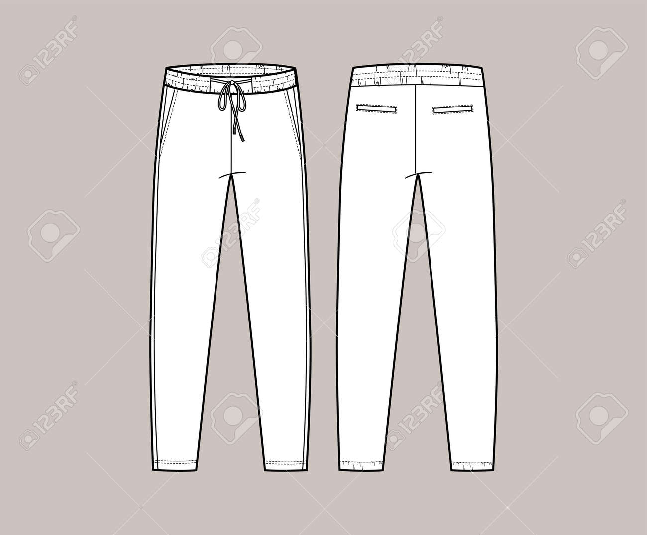 Vector trchnical sketch of joggers pants with cords and pockets. Front and back side. Unisex troussers. Casual, sport cloth. Fashion technical sketch. - 154725354