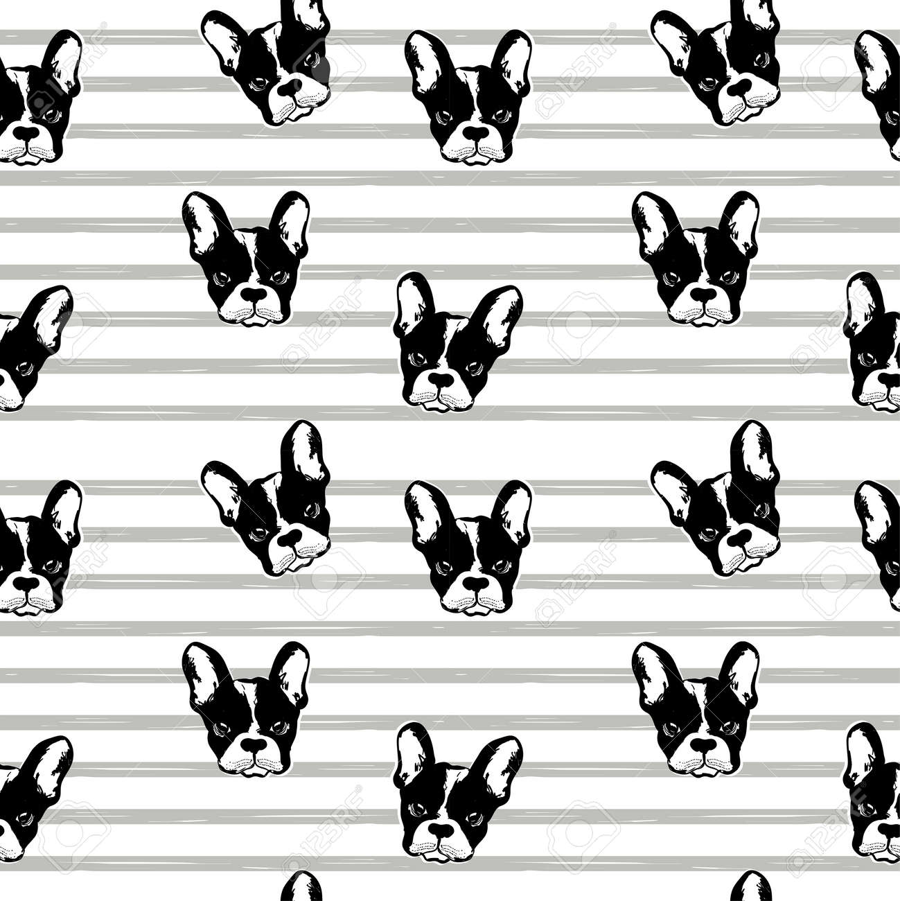 Vector monochrome pattern with dogs faces. Wallpaper with French bulldog. Pug repeat pattern. Perfect for textile - 154727936