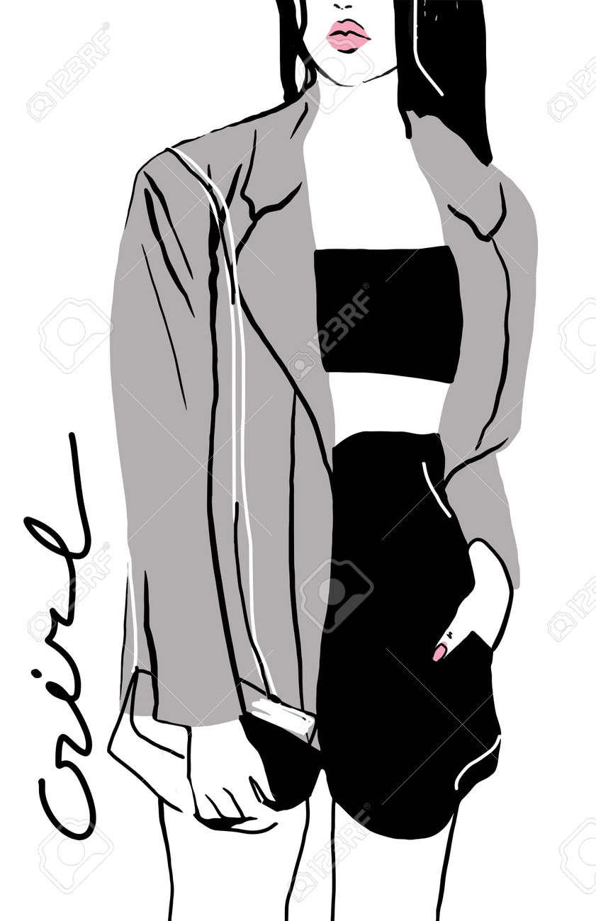Vector crop illustration of young fashion girl in trendy look. Fashion illustration. Perfect for t shirt print, poster, cover, postcard - 154727943