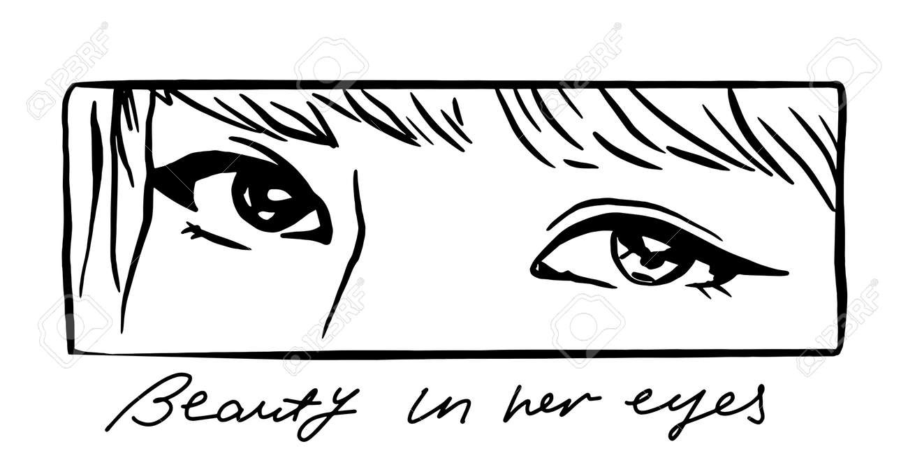 Vector illustration of young girl eyes with slogan in anime style. Asian woman. Perfect for t shirt print, poster - 154727944