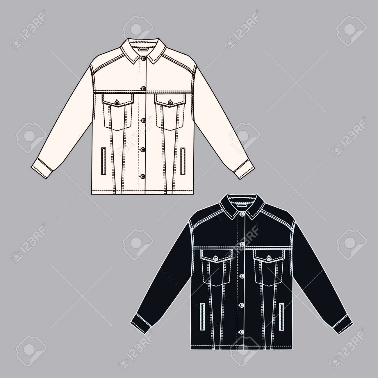 Female jeans jacket technical sketch white and black colors. Cloth technical sketch. outline fashion sketch - 154727947