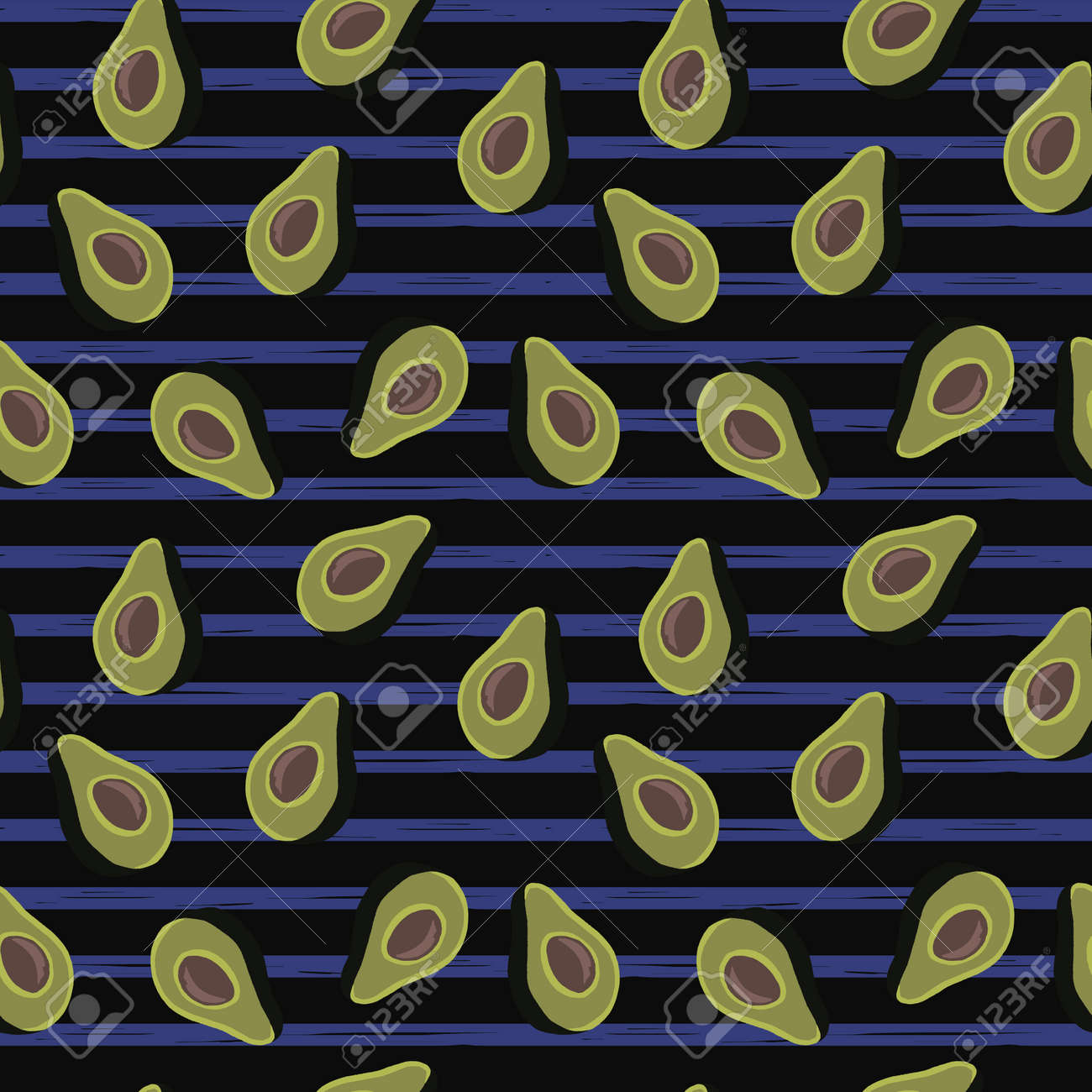 seamless pattern of half avocado on black background and blue stripes.Perfect for textile. - 154727956