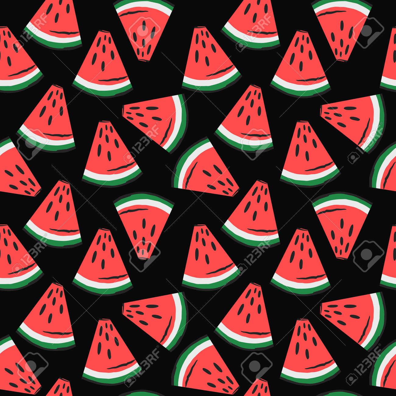 watermelon slices pattern. fruit background. Summer textile print on dark background. - 154728202