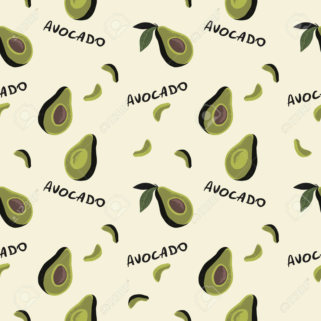 seamless pattern of half avocado on cream background and black text avocado. Perfect for textile - 154728204
