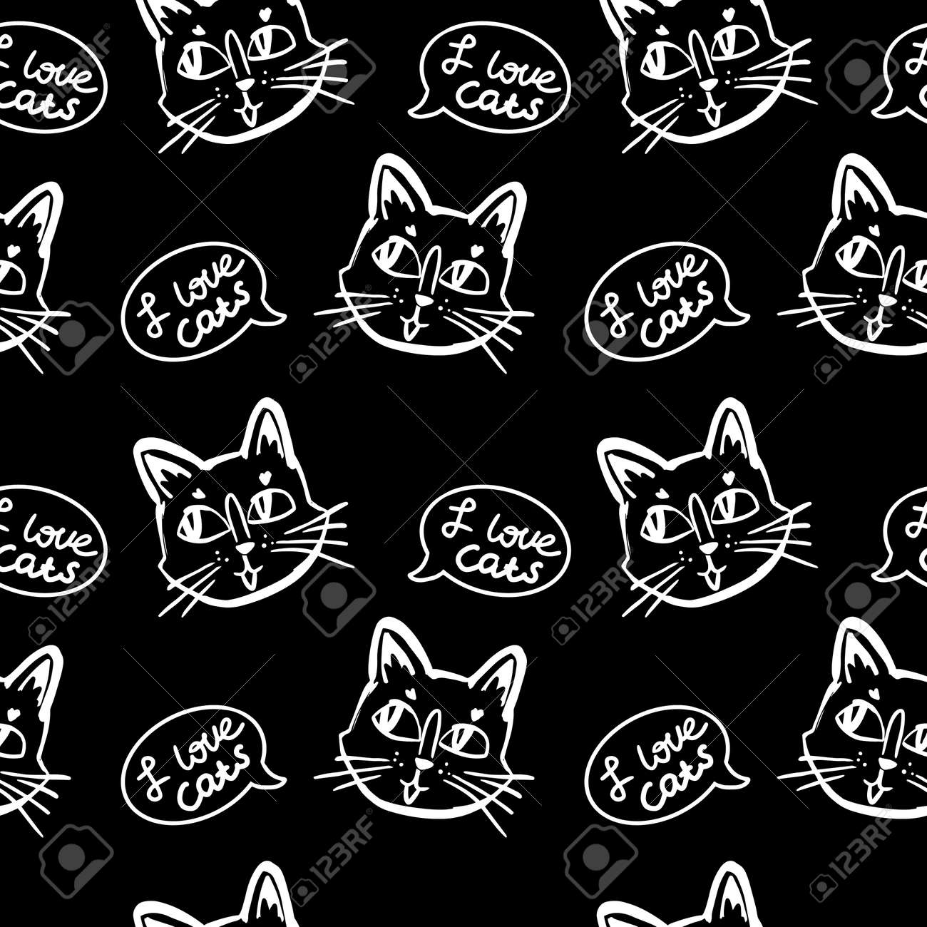 cat vector seamless in black and white colors.Wallpaper background with cartoon kitty muzzles with bubble speach in line art - 154728207