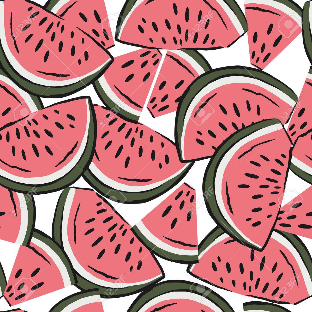 watermelon slices pattern. fruit background. Summer textile print on white background. - 154728209