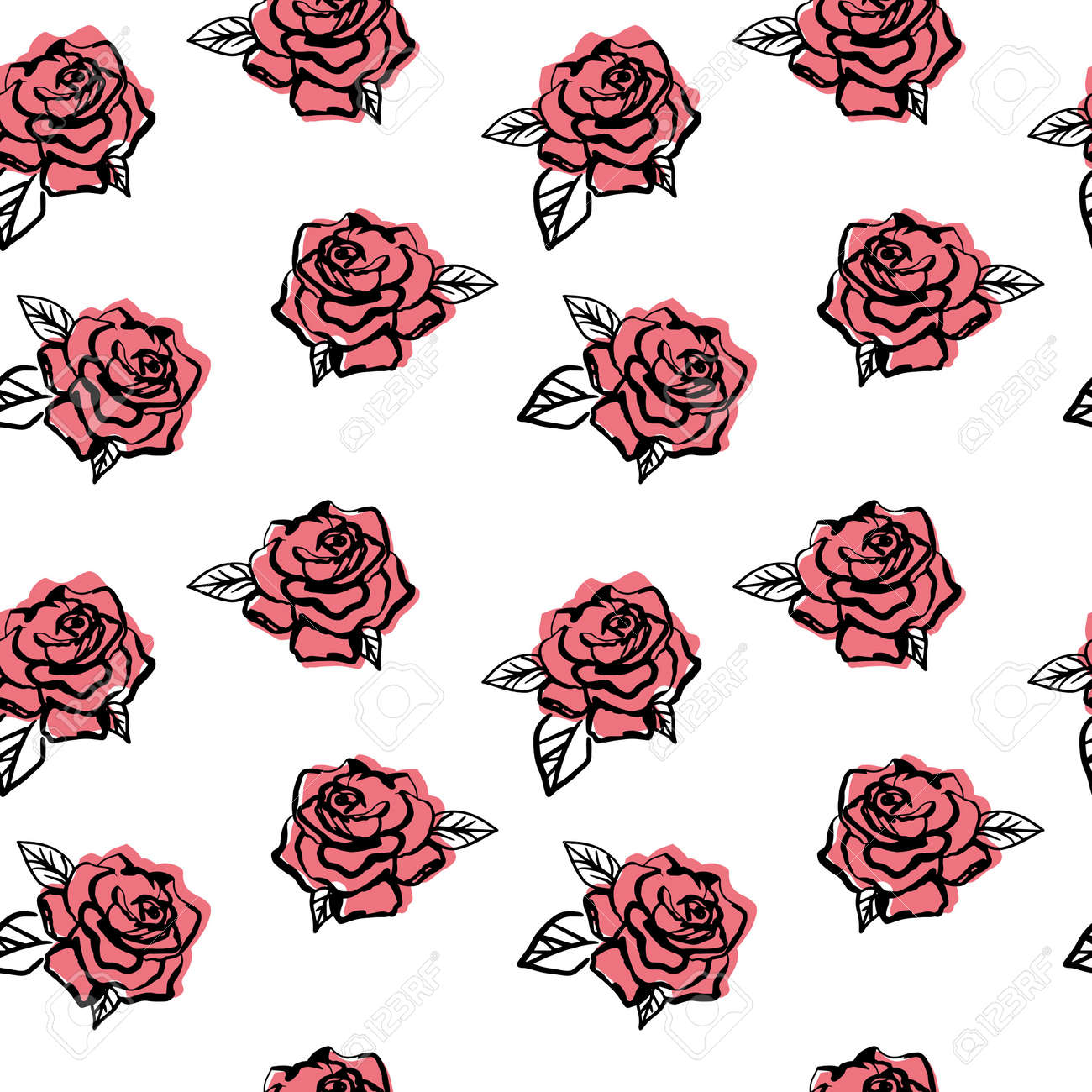 Simple roses pattern on white background. Line art flower back drop. Perfect for textile. - 154728213