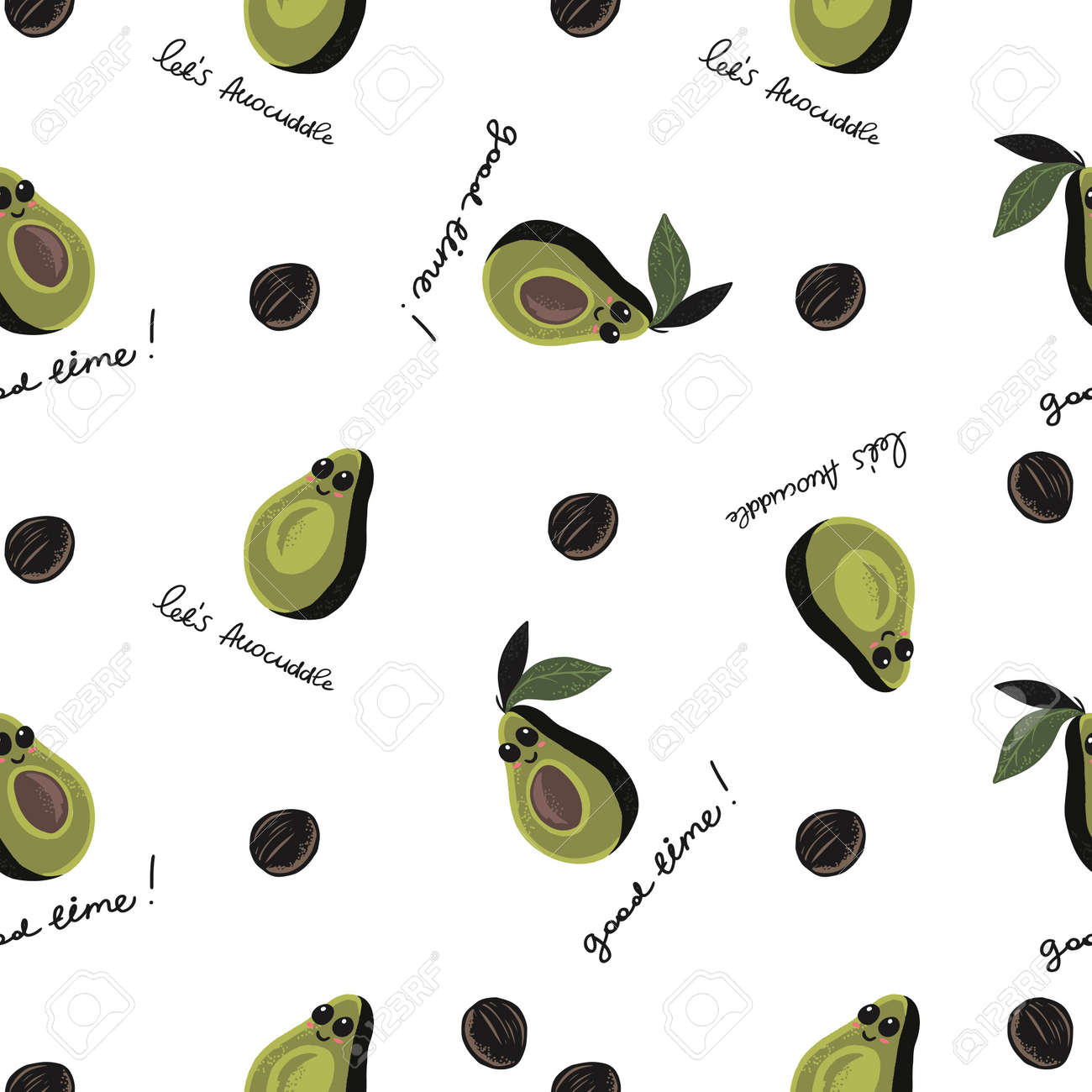 seamless pattern of half avocado with eyes and smile on white background with text lets avocuddle. Perfect for textile - 154728214
