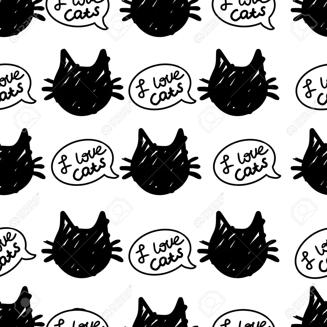 cat vector seamless in black and white colors.Wallpaper background with cartoon kitty muzzles. Pattern for textile, wrapping and etc. - 154728215
