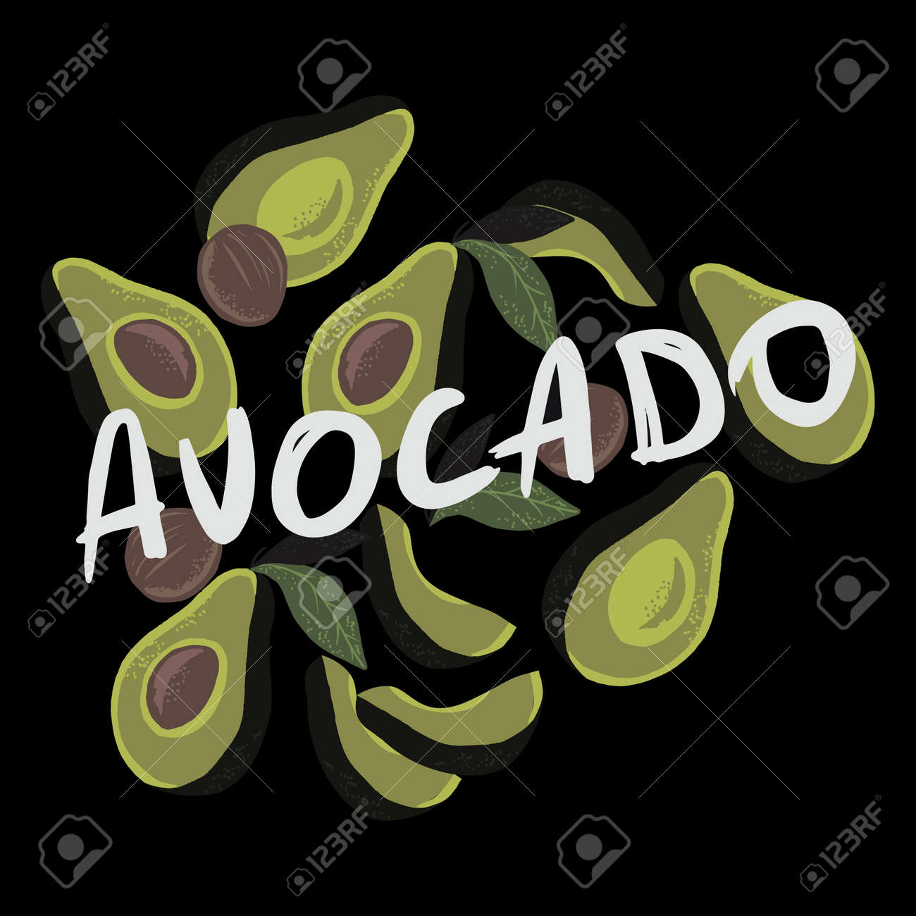 Vector illustration of half avocados on black background and white text avocado. - 154728222