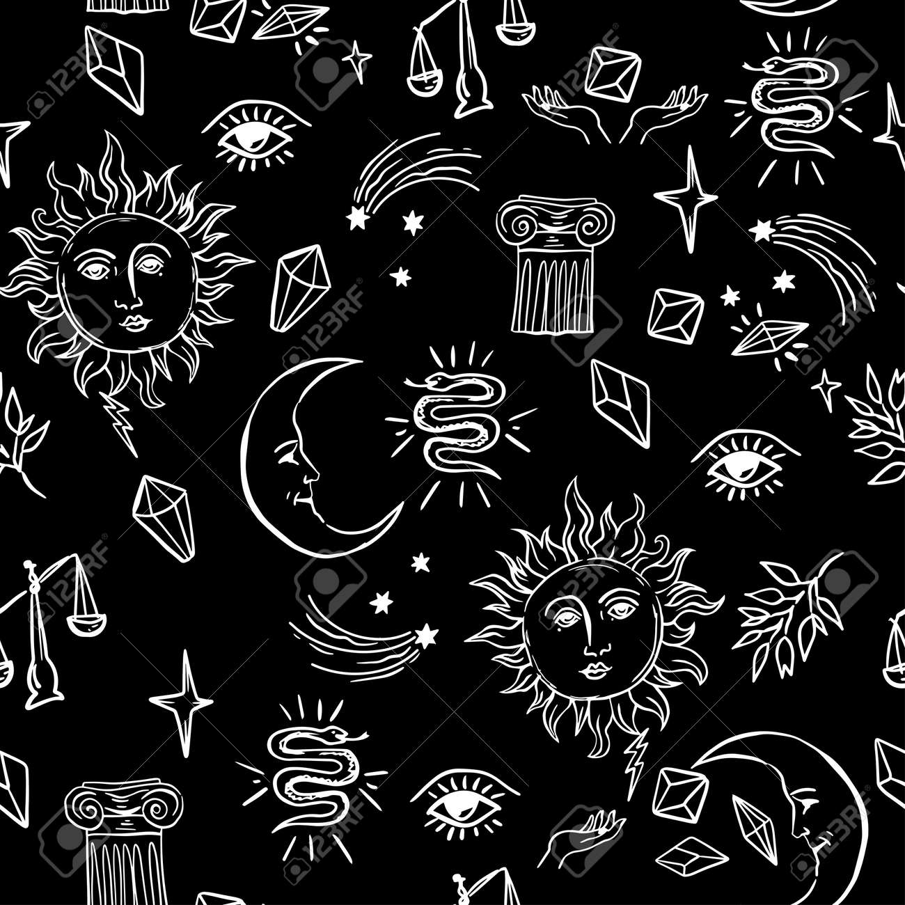 Doodle hand drawn vector seamless pattern with magic attributes,sun and moon, tarot symbols. - 158589839