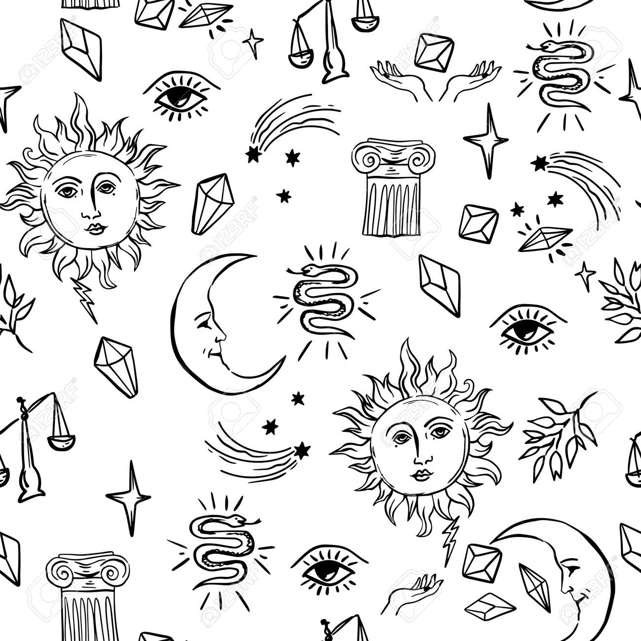 alchemy mystic pattern with moon and sun, stars and other symbols. cosmic sky. perfect for textile, wrapping paper. - 158589851