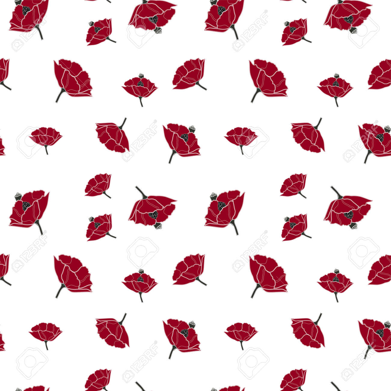 Vector seamless pattern with simple red poppy on white background. Perfect for fabric, wrapping, wallpaper - 158589866
