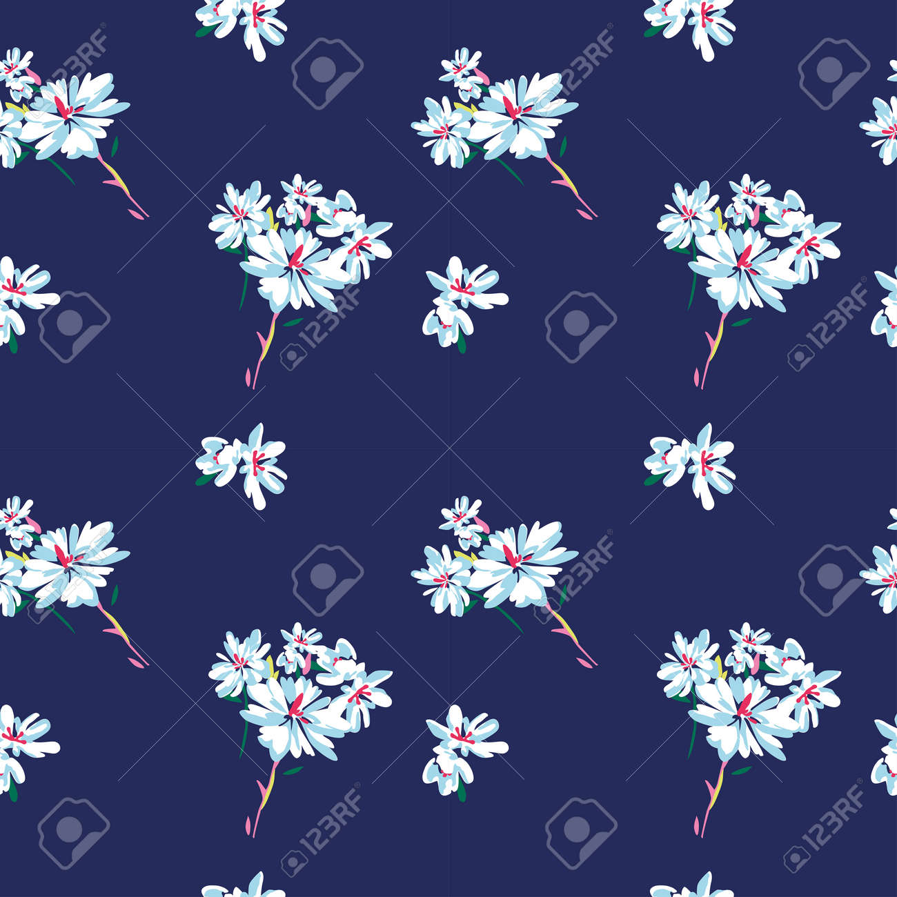 Vector seamless pattern with simple doodle flowers on dark blue background. Perfect for fabric, wrapping, wallpaper - 158589869