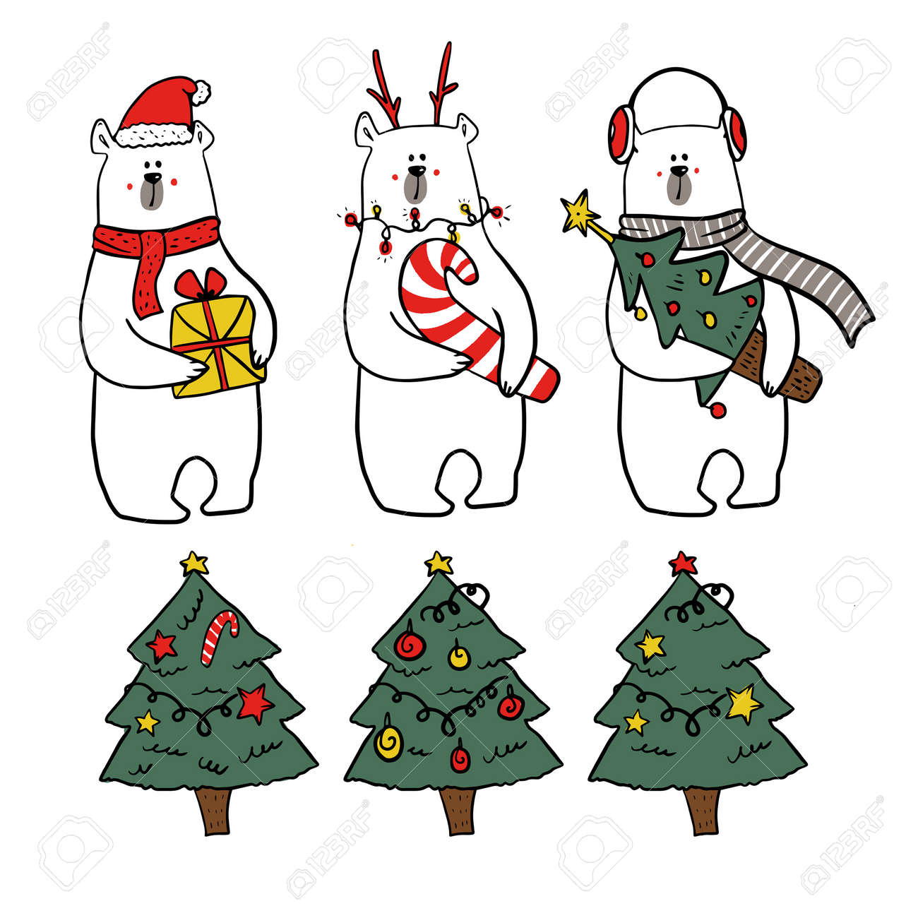 set of christmas characters. Collection of cute funy white bears in christmas outfits and three christmas tree - 158515758