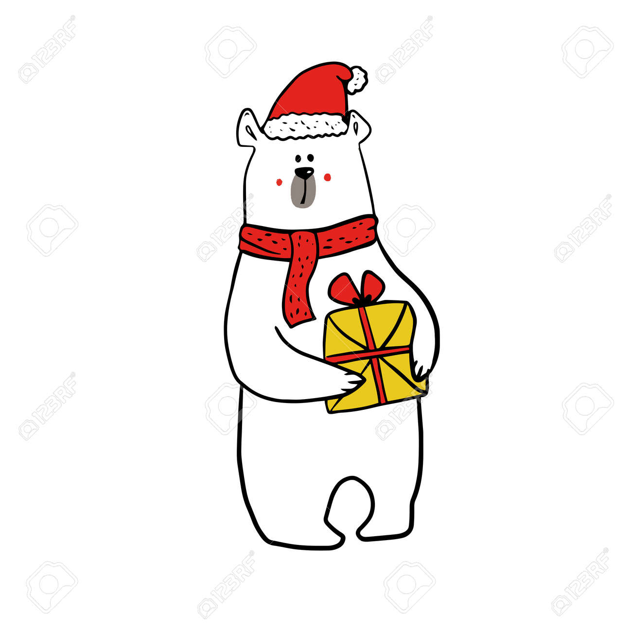 cute funy white bear in christmas outfit of santa claus with present. - 158515802