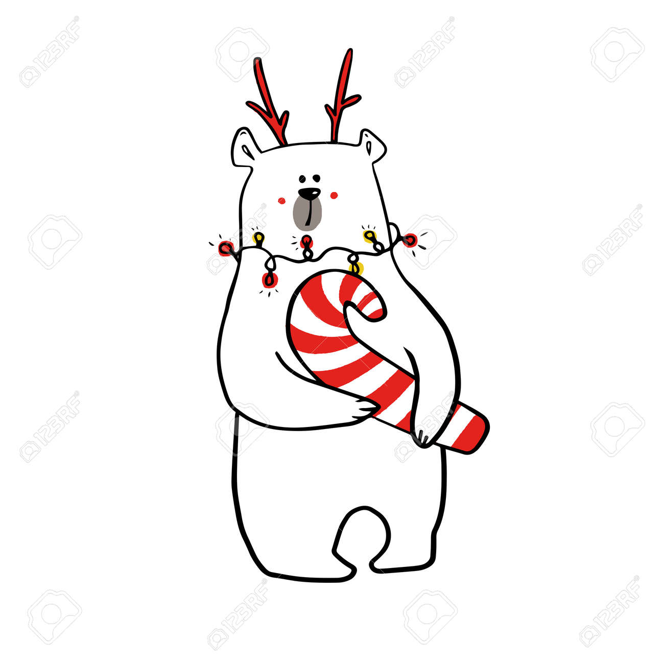 cute funy white bear in christmas outfit with christmas candy. - 158516234