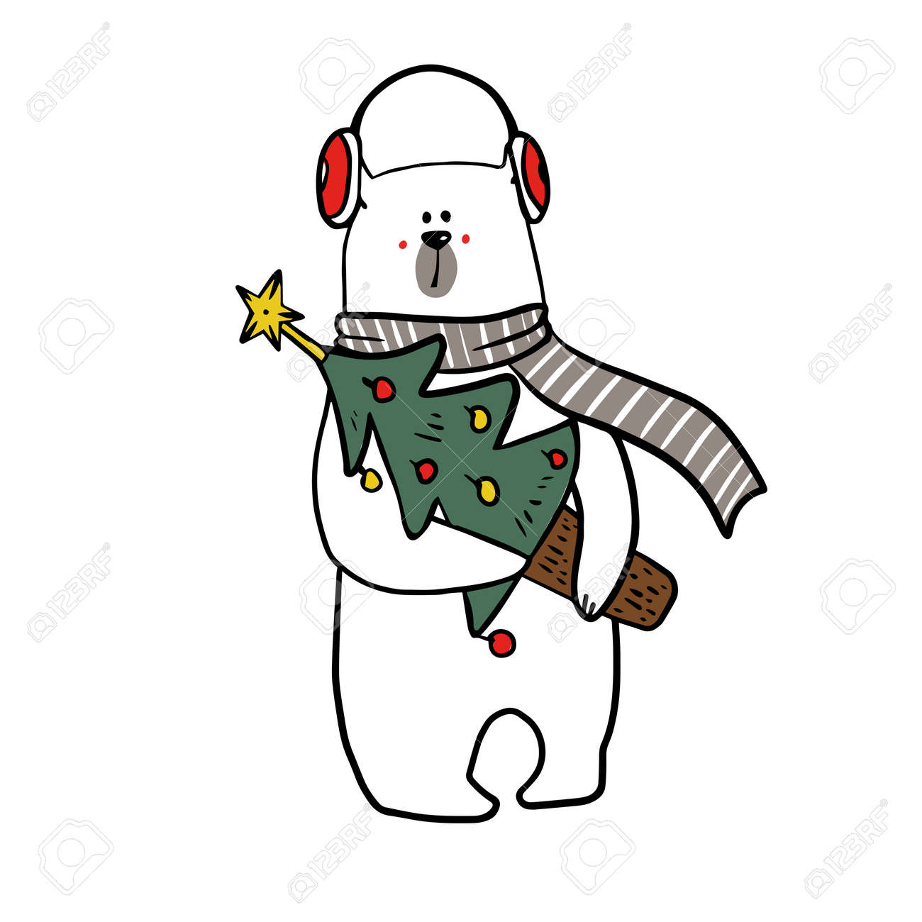 cute funy white bear in christmas outfit with christmas candy. - 158515783