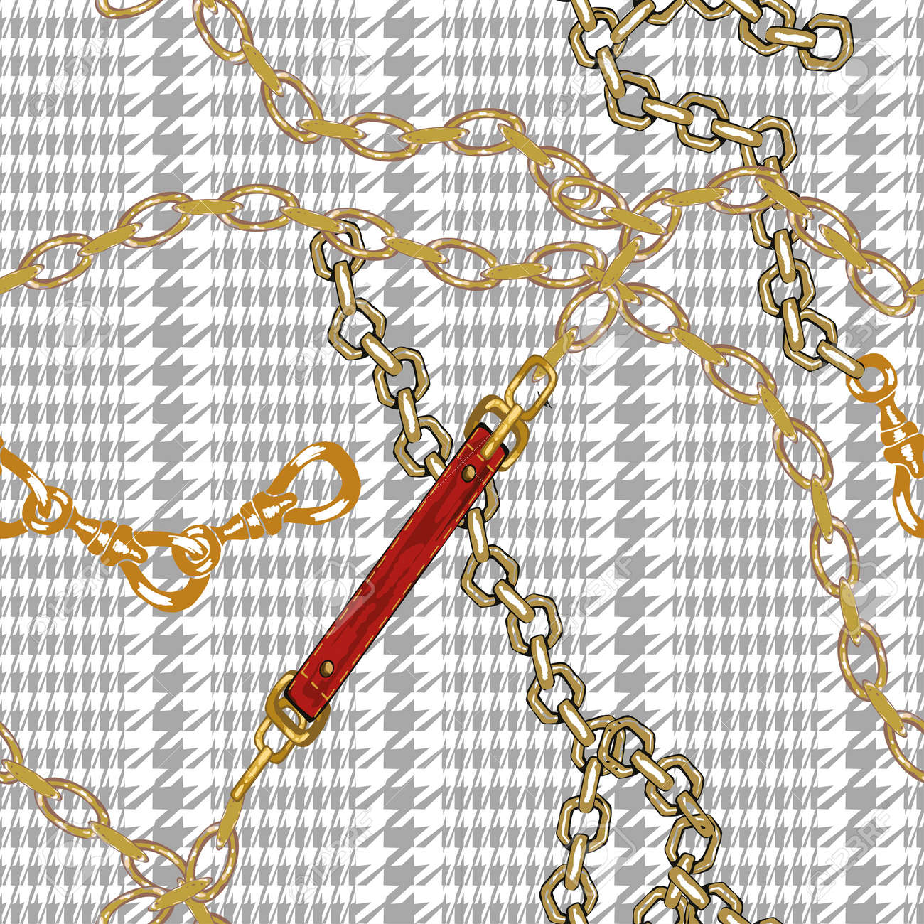 Pattern with gold chains pie de poul and red leather belts. Vintage seamless wallpaper. Perfect for textile - 158589901