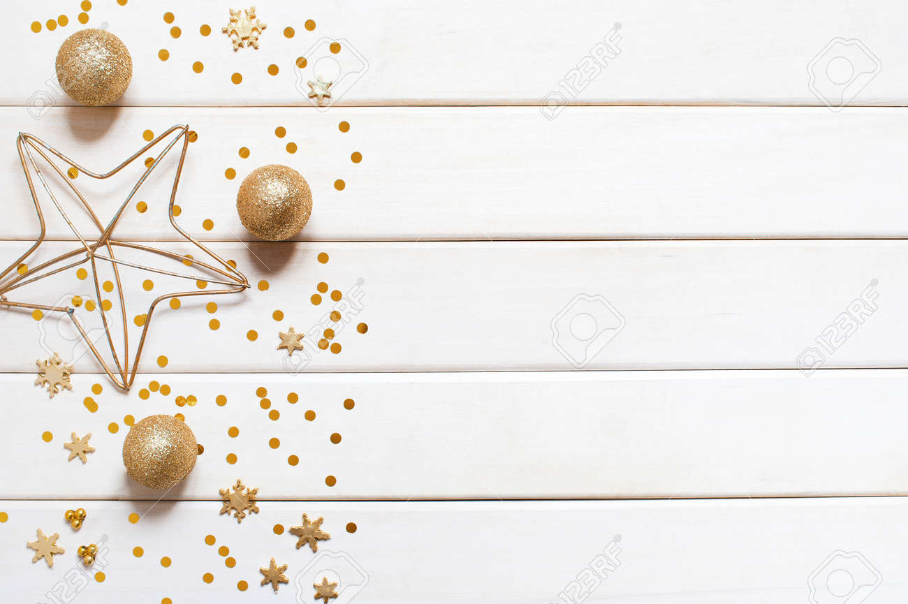 White wooden holiday background with golden decoration - 87439039