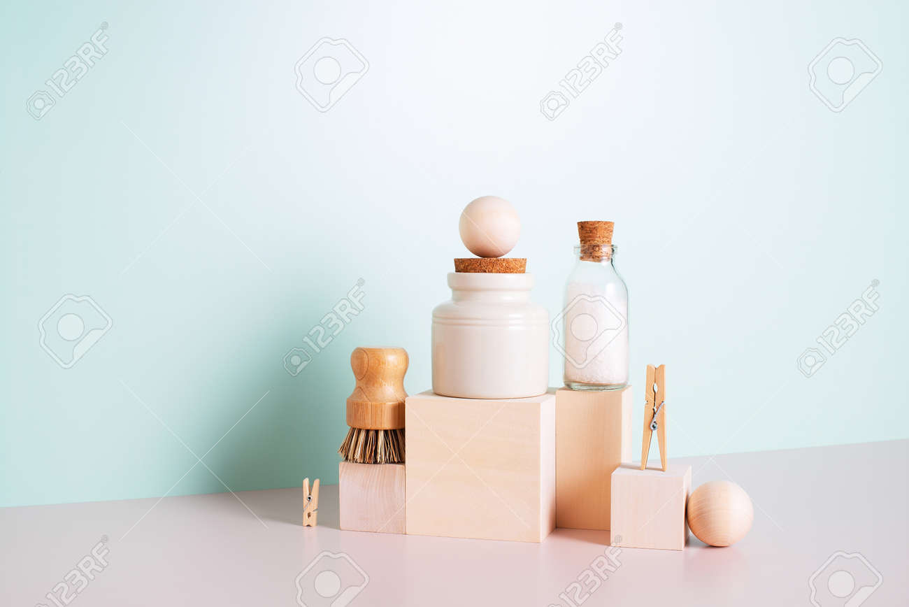 Set of personal care products and household accessories, concept of zero waste lifestyle - 168918292