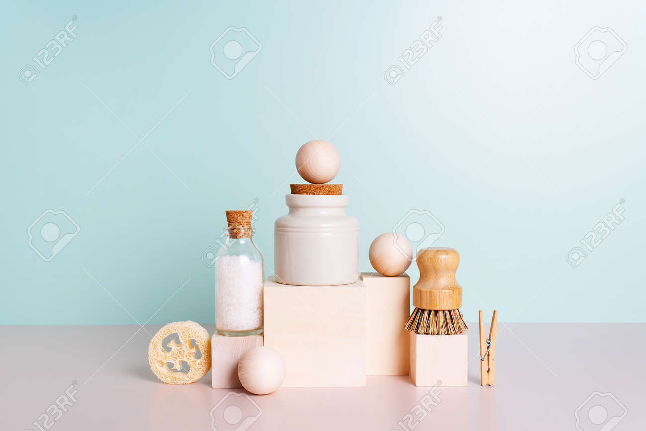 Set of personal care products and household accessories, concept of zero waste lifestyle - 168918302