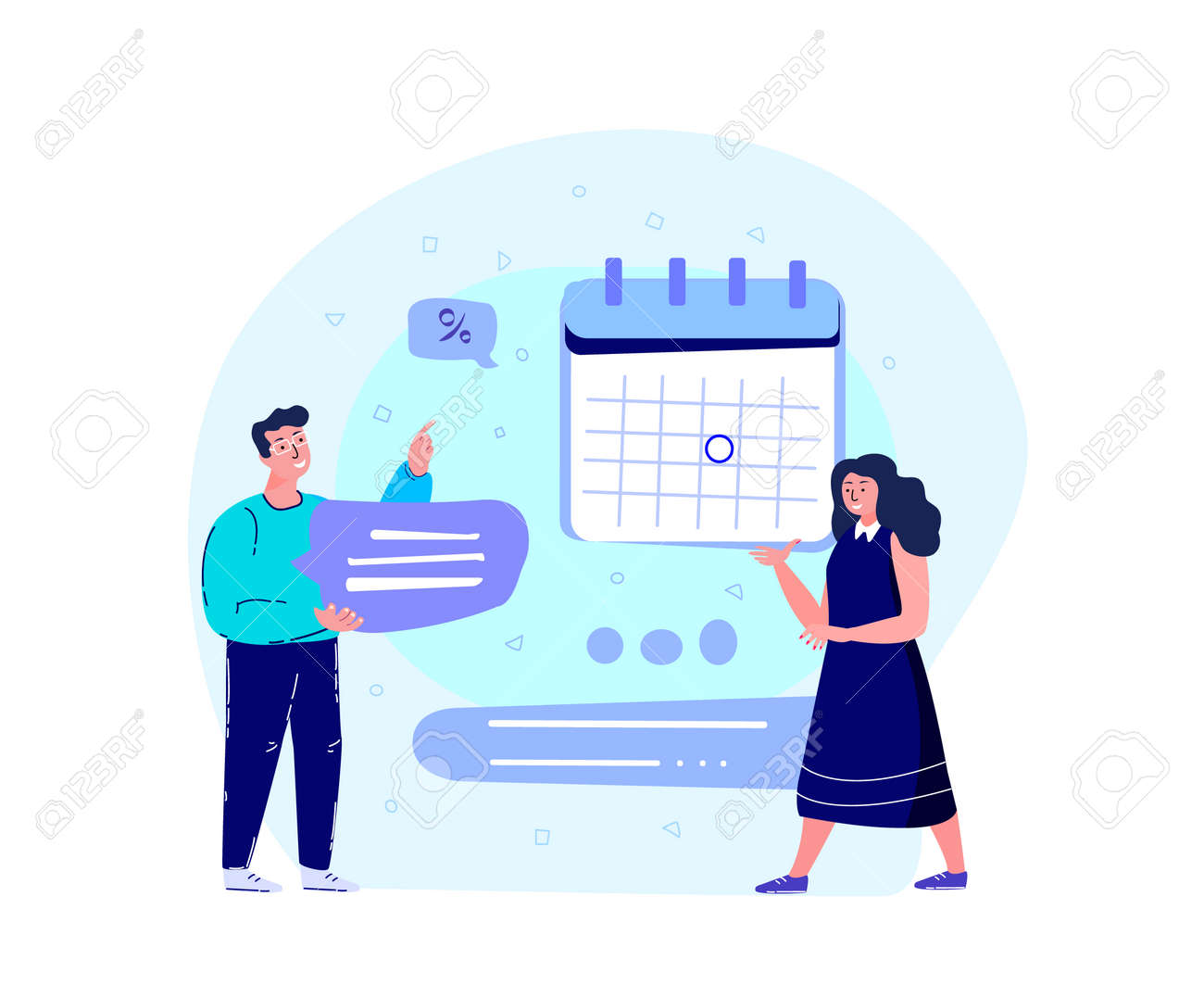 Business Team Man and Woman Workaholics Scheduling a Timetable with Laptop, Calendar.Efficiency Management Collaboration.Organising, Planning Business Concept.Successful Growth, Trade.Vector Illustration - 167665505