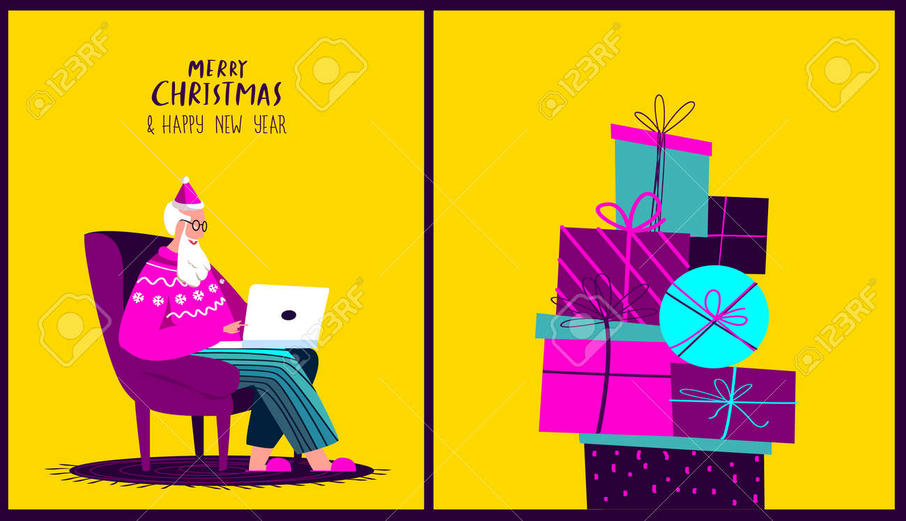 Santa Claus Sitting in Armchair with Laptop.Merry Christmas, Happy New Year.Prepare Boxes of Gifts, Presents for Children.Chatting Correspondance. Writting Wish Letter.Cosy Xmas Atmosphere Illustration - 167667432