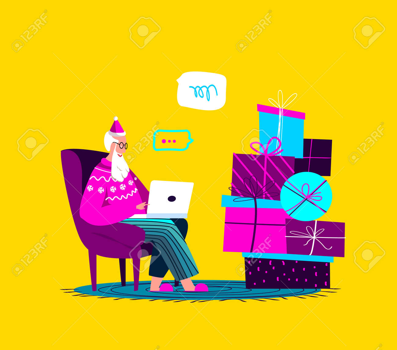 Santa Claus Sitting in Armchair with Laptop.Merry Christmas, Happy New Year.Prepare Boxes of Gifts, Presents for Children.Chatting Correspondance. Writting Wish Letter.Cosy Xmas Atmosphere Illustration - 167666134