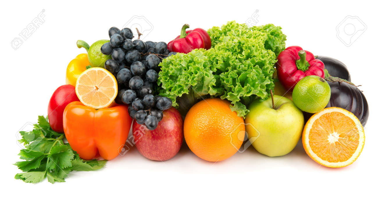 set of different fruits and vegetables isolated on white background Stock Photo - 15795457