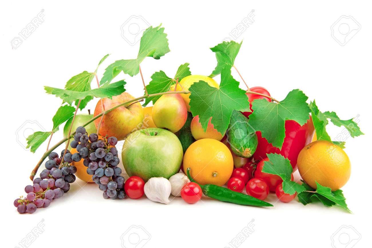set of different fruits and vegetables isolated on white background Stock Photo - 17174677