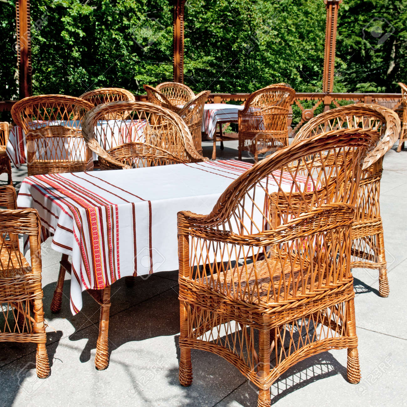 Furniture Made Of Willow Twigs On The Outdoor Terrace Restaurant Stock Photo Picture And Royalty Free Image Image 23711469