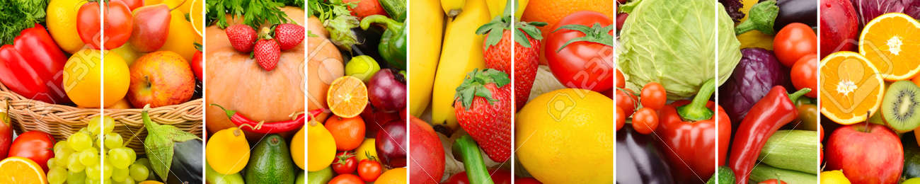 Panoramic collection fresh fruits and vegetables background. Collage. Wide photo . - 90180917
