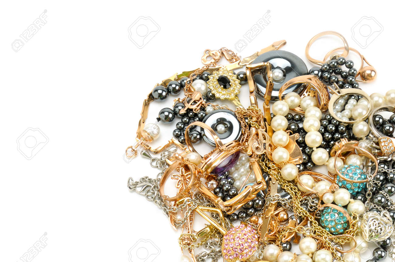 Gold Jewelry Isolated On White Background Flat Lay Top View Stock Photo Picture And Royalty Free Image Image 103735825