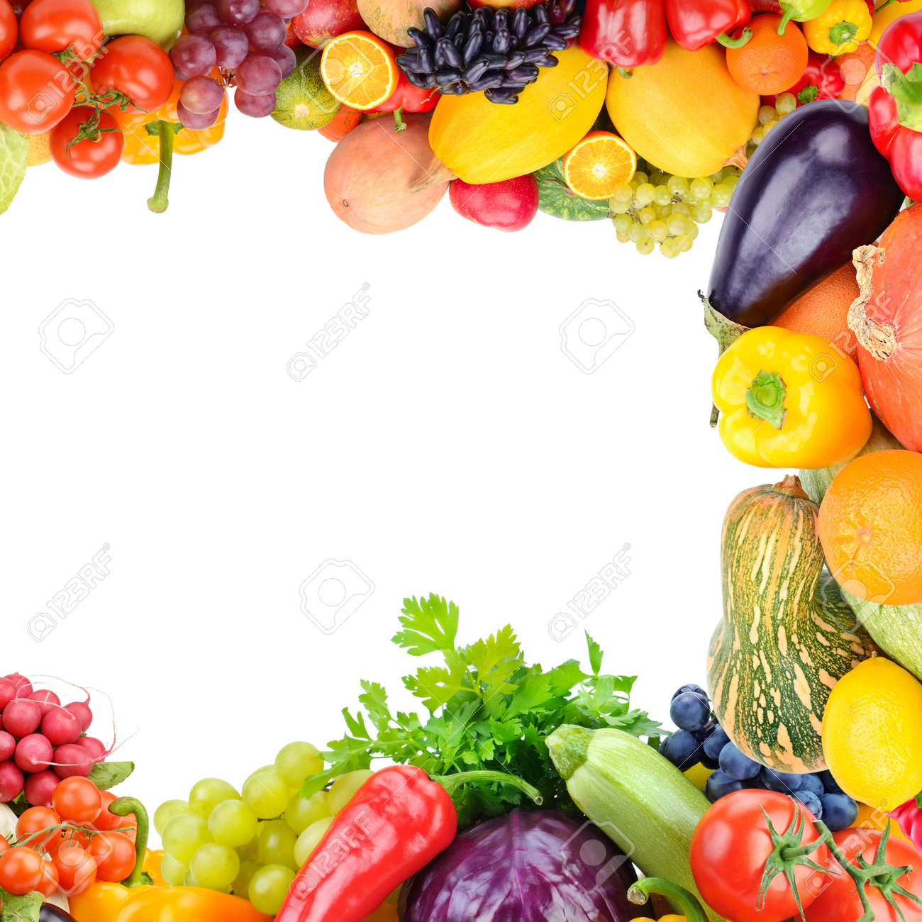 Frame of set vegetables and fruits on white background. Copy space. Top view. Free space for text. - 121640689