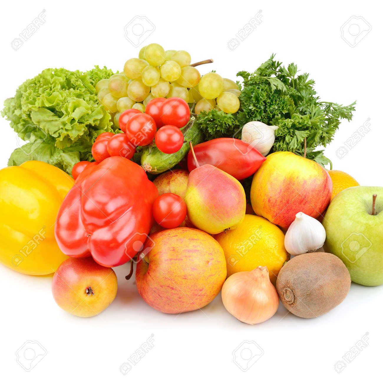 Fruits and vegetables isolated on white - 122386112