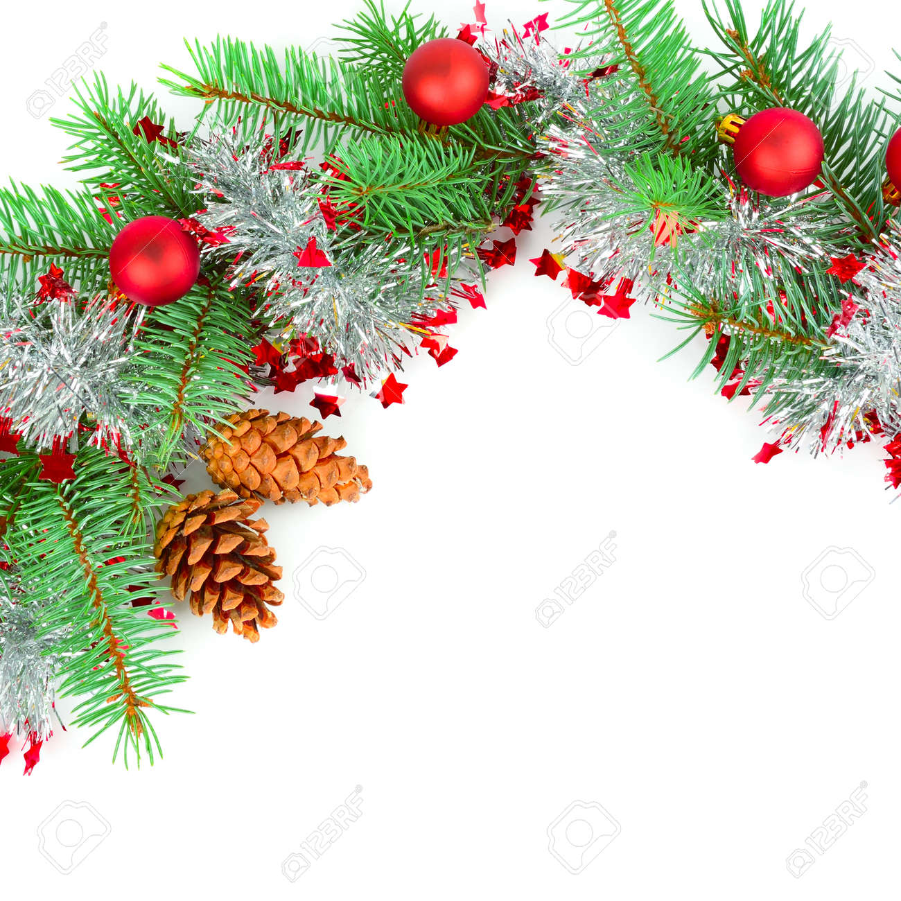 Christmas decoration baubles with branches of fir tree isolated on white - 130211702