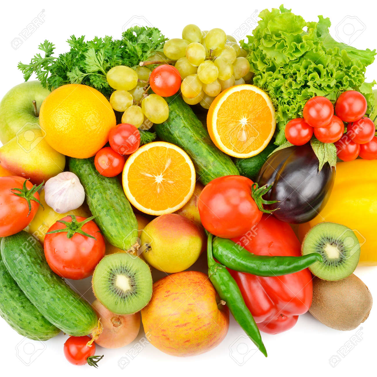 Fruits and vegetables isolated on a white background. Healthy food. Flat lay,top view. - 135670227