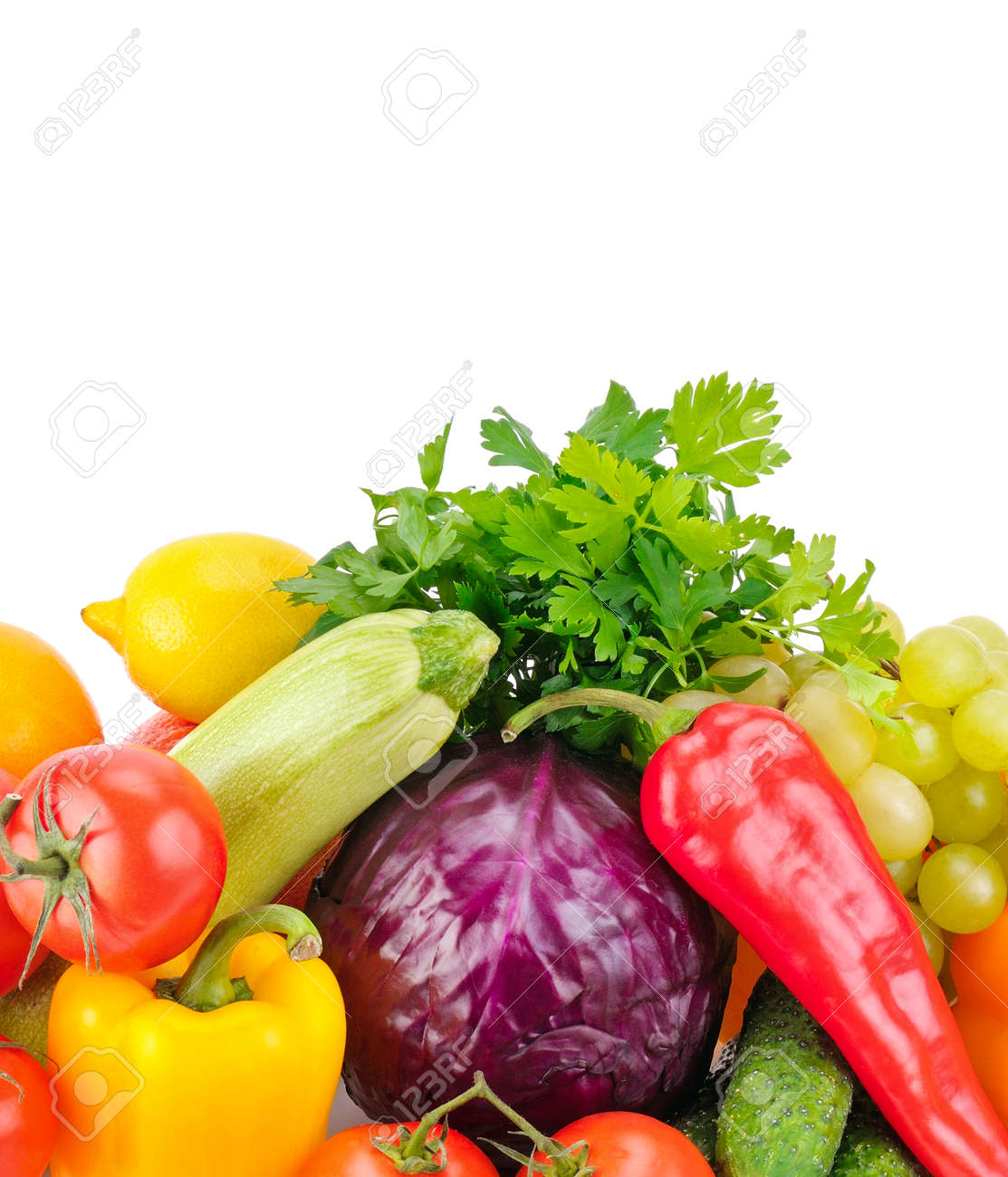 Fruits and vegetables isolated on a white - 136738517