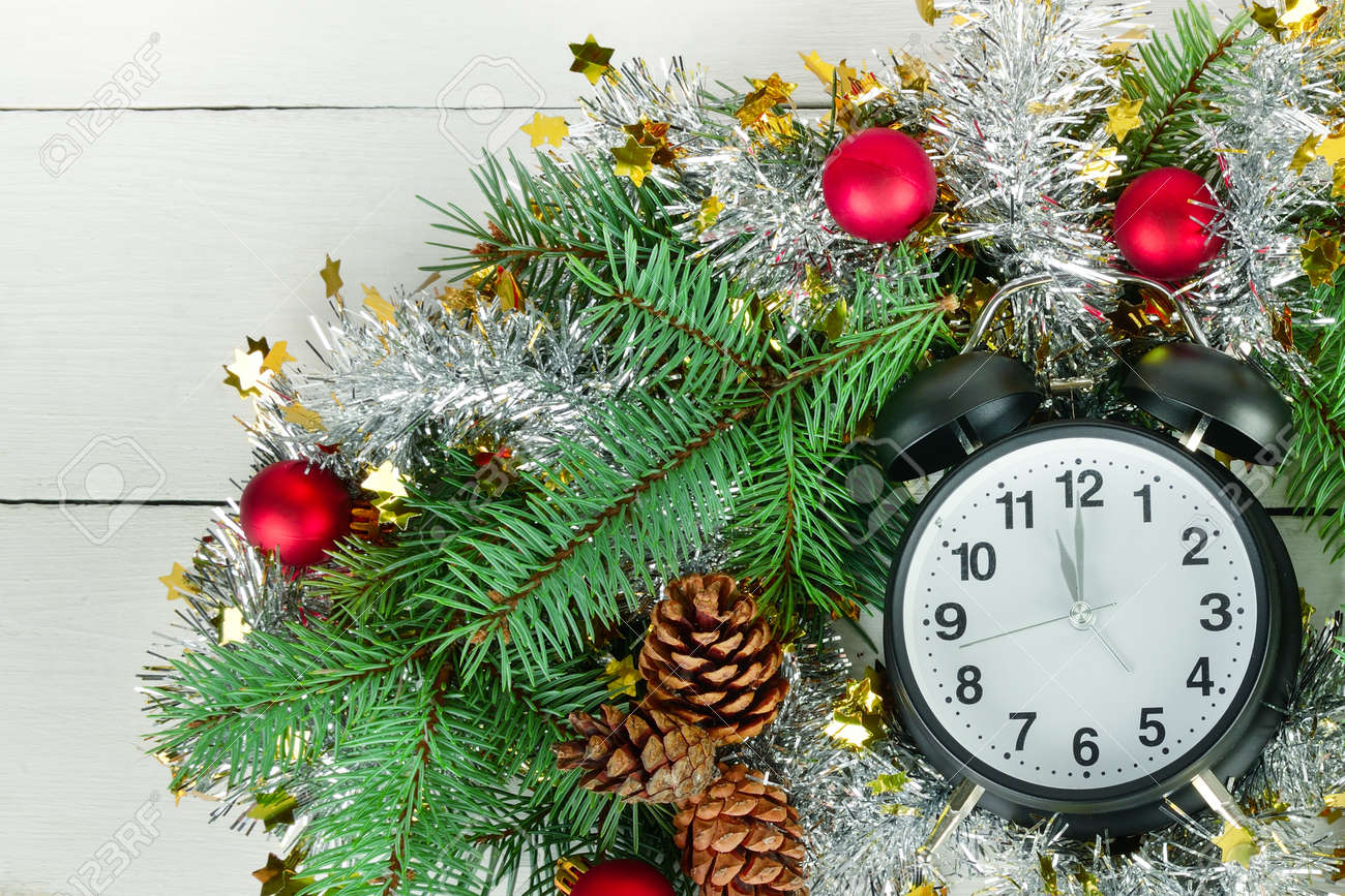 Beautiful Christmas Composition Retro Alarm Clock And Christmas Stock Photo Picture And Royalty Free Image Image 136966284