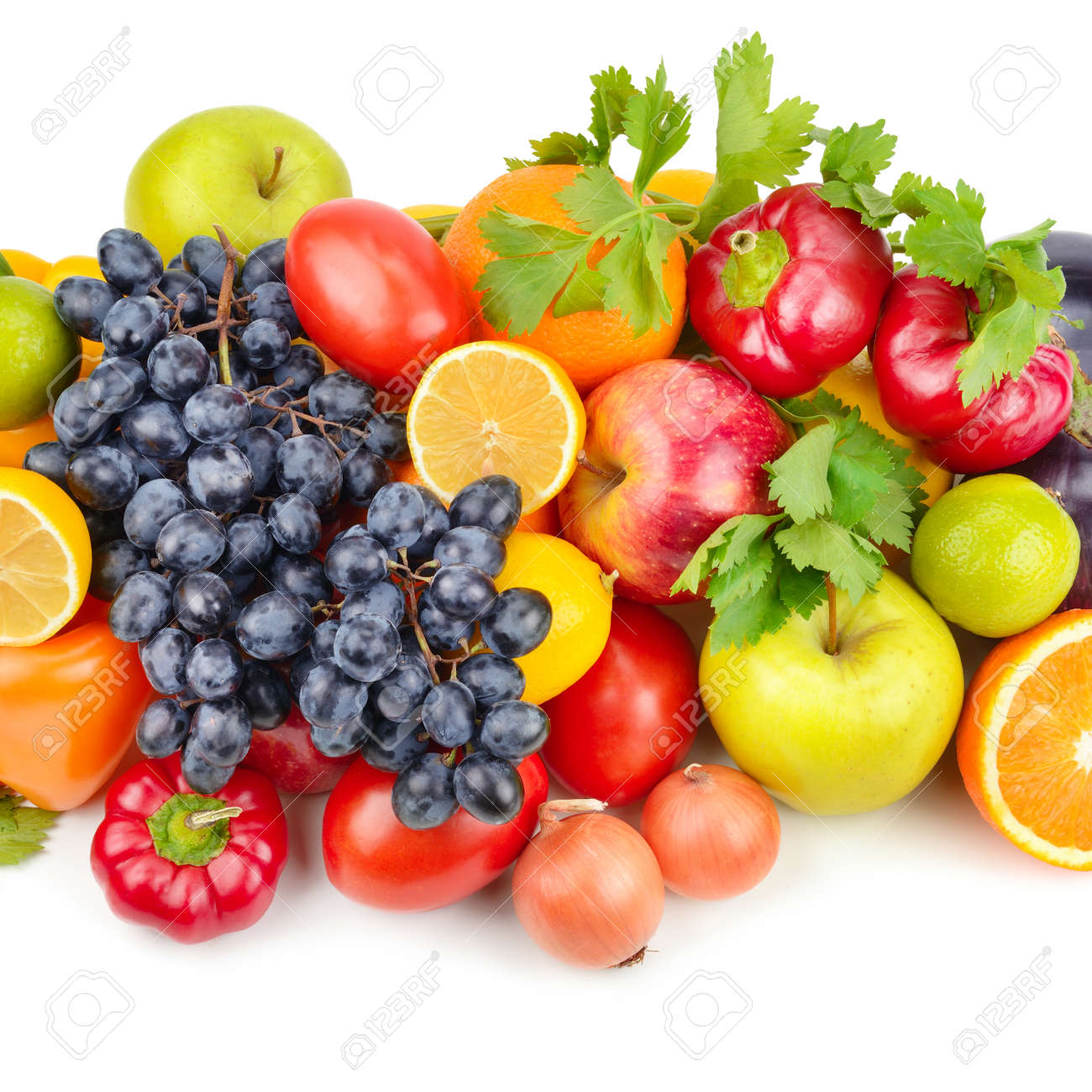 Assortment of fruits and vegetables isolated on white background. - 146759148