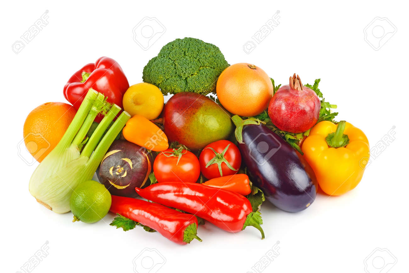 Set of vegetables and fruits isolated on a white background. Healthy food. Flat lay. - 150394638