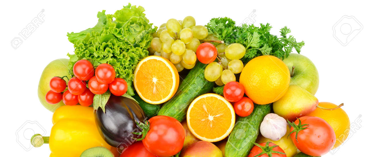 Set of vegetables and fruits isolated on a white background. Healthy food. Wide photo. - 156113501