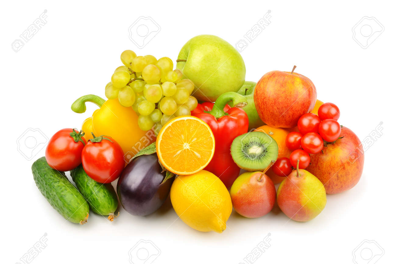 Assortment of fruits and vegetables isolated on white background. - 169207920