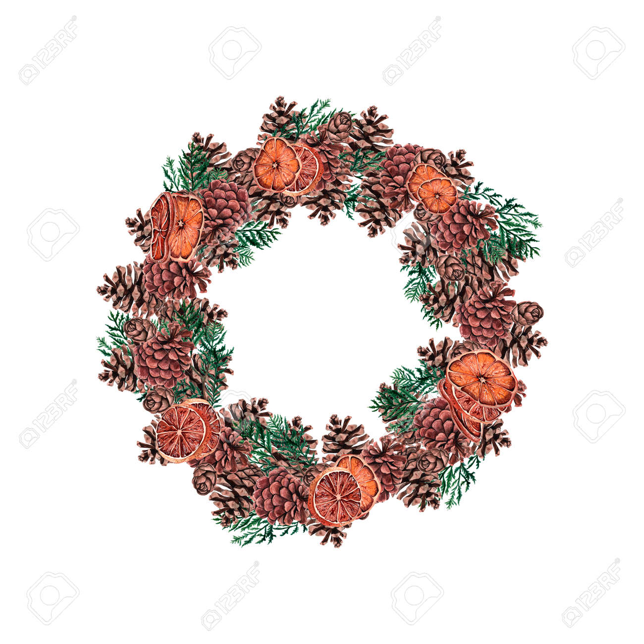 Watercolor Christmas Wreaths. Christmas Decorations With Festive ...