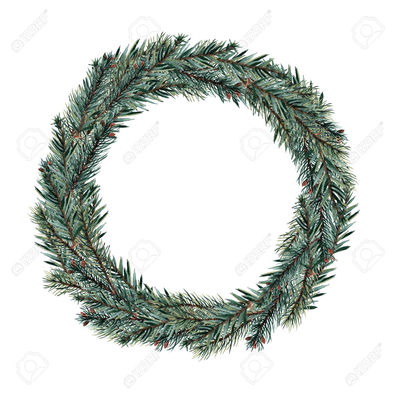 Watercolor Christmas Wreaths. Stock Photo, Picture And Royalty Free ...