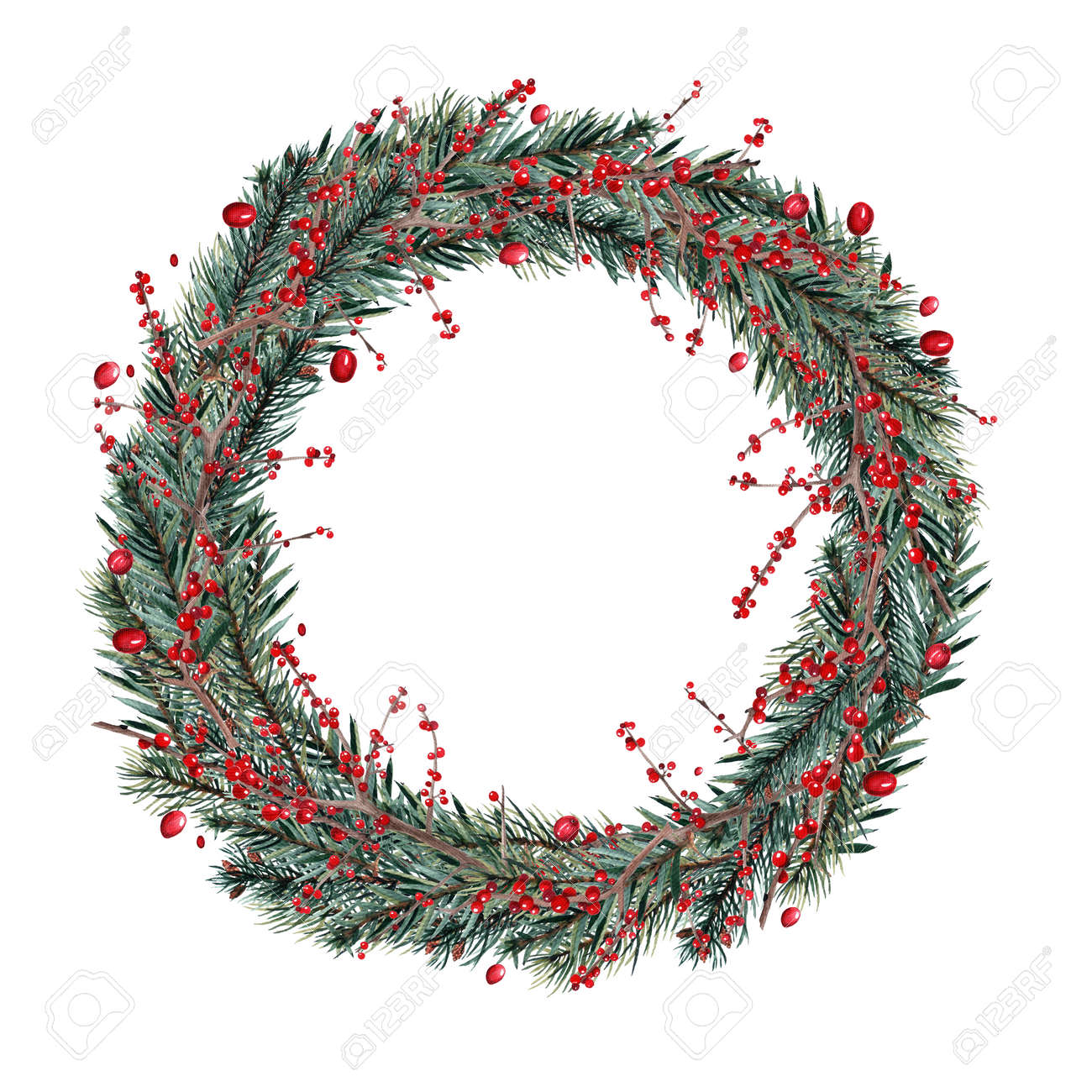 Watercolor Christmas Wreaths Stock Photo Picture And Royalty Free
